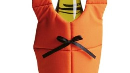Quirky Life Vest wine bottle holder will hold wine but not small children or pets