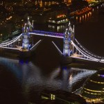 Aerial view, white lights., bridge open.