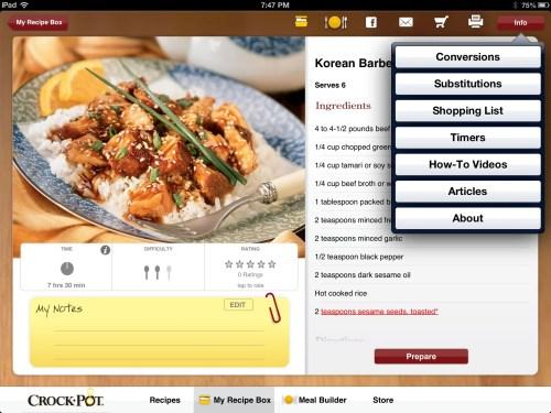 Crock-Pot Recipe App Review