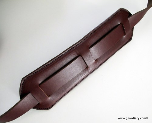 The large padded leather shoulder strap