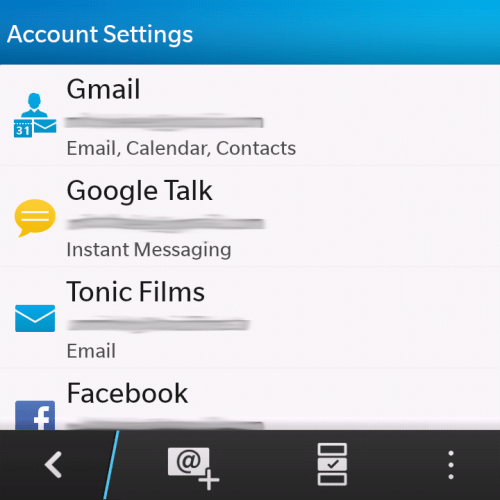 All the accounts are collated in the settings, just like the in Hub