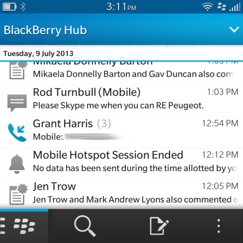 The BlackBerry Hub combines all your services