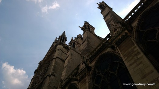 Outside Notre Dame, looking up at the gargoyles