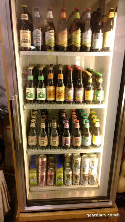 The well-stocked fridge at Oasis Eatery at Nesbitt's Orchard in Prescott, Wisconsin