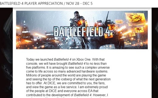 Battlefield 4 Player Appreciation Week Is Nov 28 - Dec 5