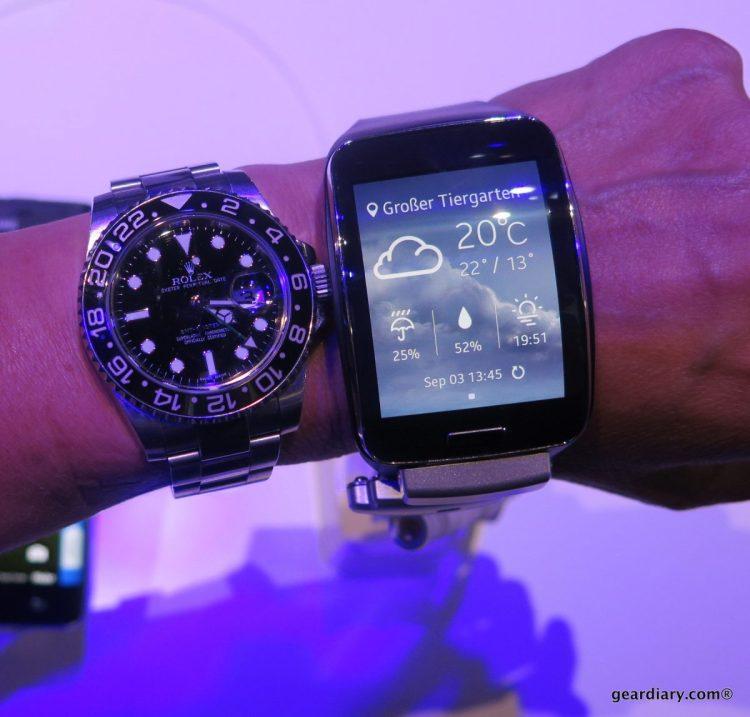 Size comparison next to a Rolex GMT II