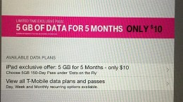 T-Mobile 5 GB for 5 Months for $10 on New iPad Air 2 with Apple SIM