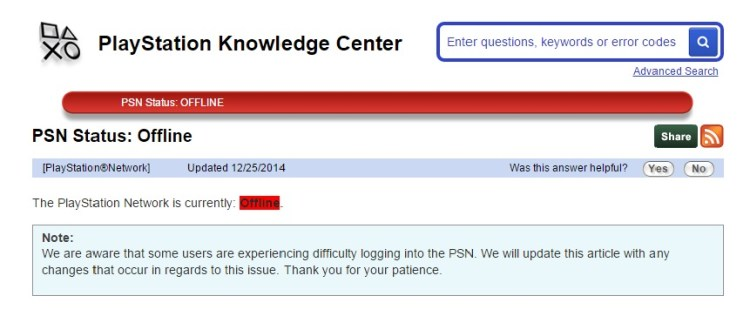 Xbox Live and PSN Christmas Day Outage Update