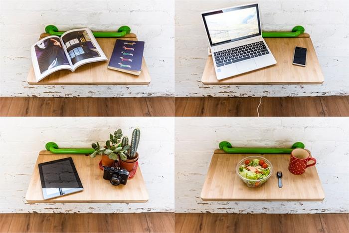 Put the bamboo between the bars to make a desktop setup!