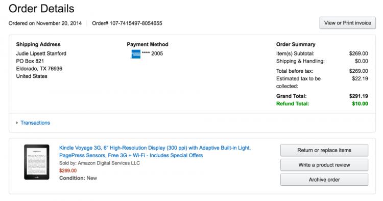 Amazon Kindle Voyage Order