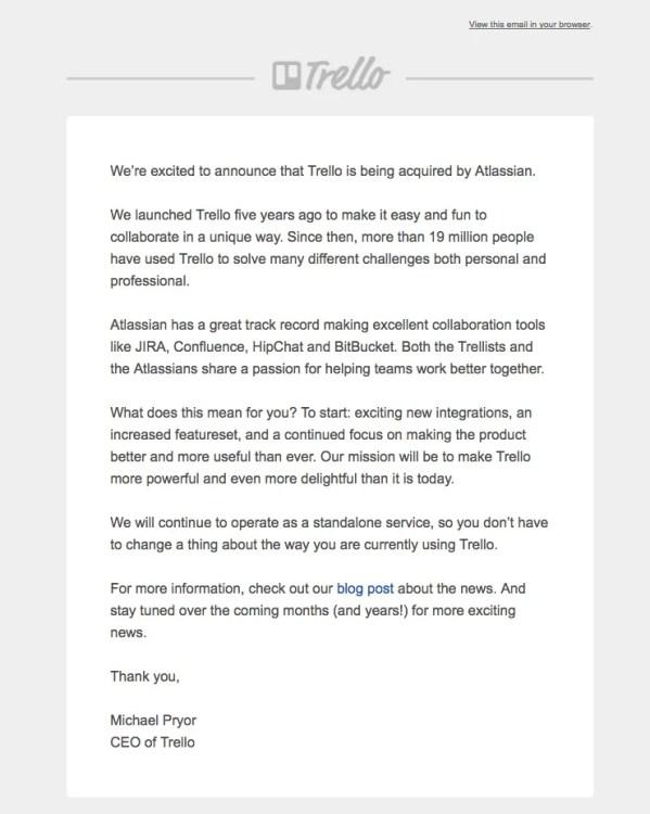 Trello Announces Acquisition by Atlassian