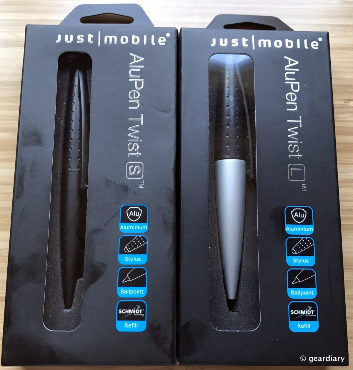 GearDiary Just Mobile AluPen Twist L & S: Dual Action Stylus and Ballpoint Pens