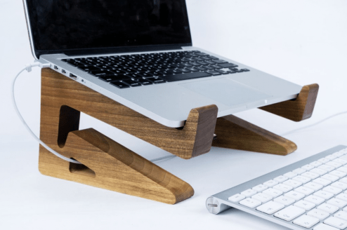 GearDiary Galen Leather Walnut Wood MacBook Stand: Elegant, Ergonomic, and Multi-Talented