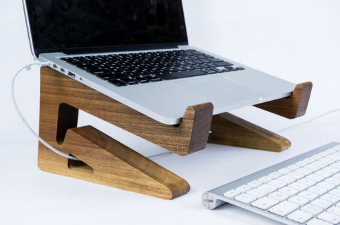 Galen Leather Walnut Wood MacBook Stand: Elegant, Ergonomic, and Multi-Talented