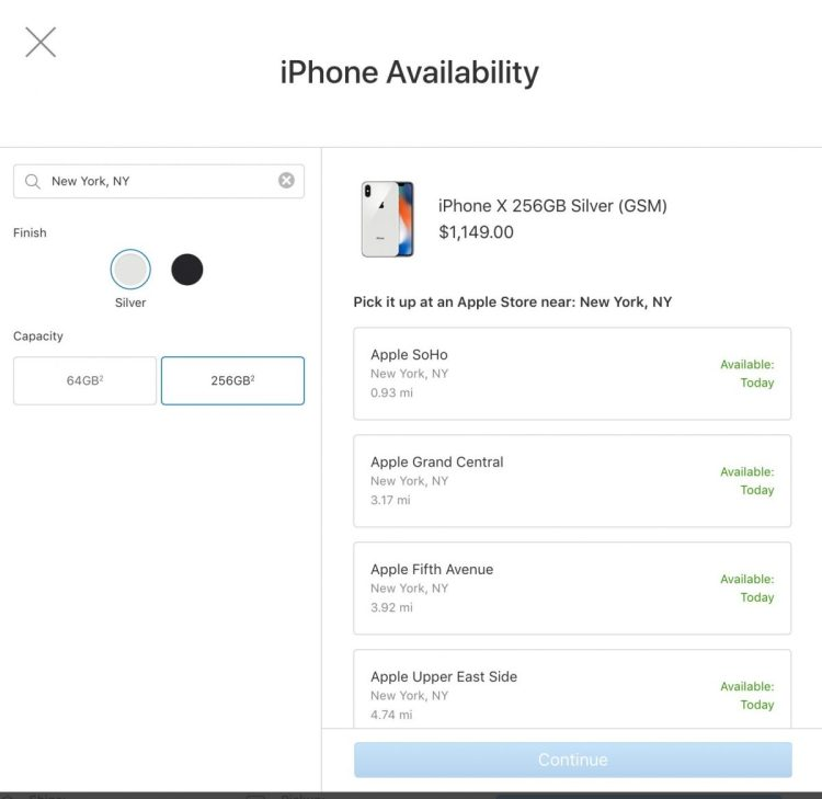 GearDiary iPhone X Widely Available for Apple In-Store Pickup