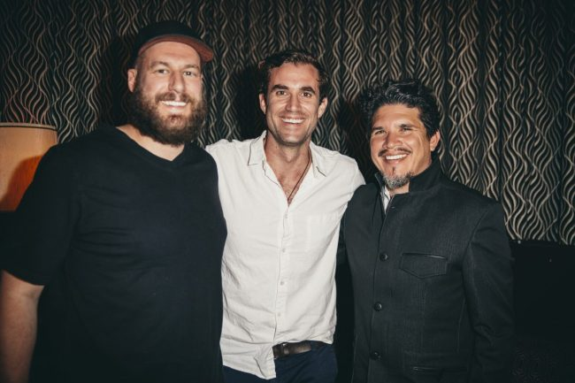 Tony (left) from Blue River Terpenes, JJ from Pax and Rob Garza from Thievery Corporation at the Pax Era x Thievery Corporation at the VIP listening party in LA on 4/19