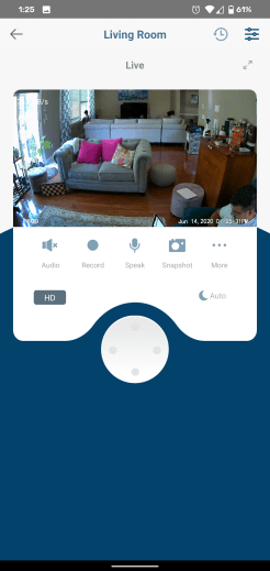 Live cam screen. You can use virtual joystick or flick the viewfinder to move