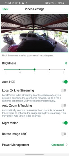Under video settings, you can adjust various settings including one of my favorites — Auto Zoom and Tracking.