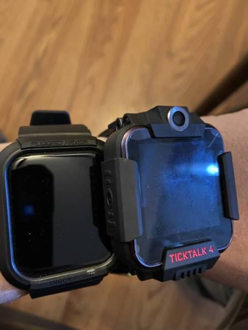 Apple Watch next to TickTalk 4