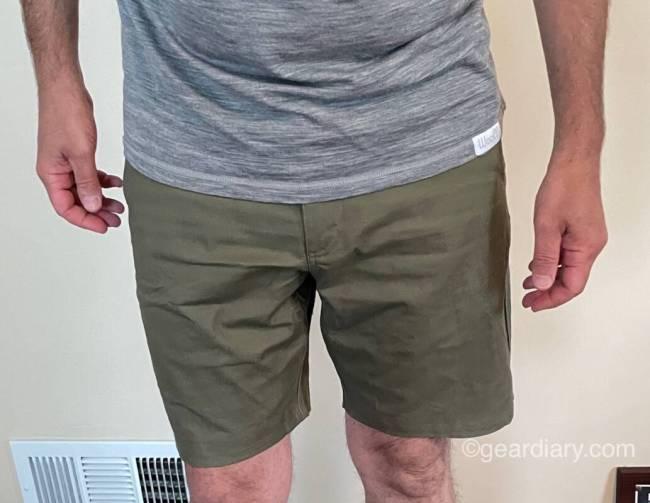 Dan wearing LIVSN Flex Canvas Shorts