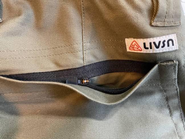 Zippered pocket on the LIVSN Flex Canvas Shorts