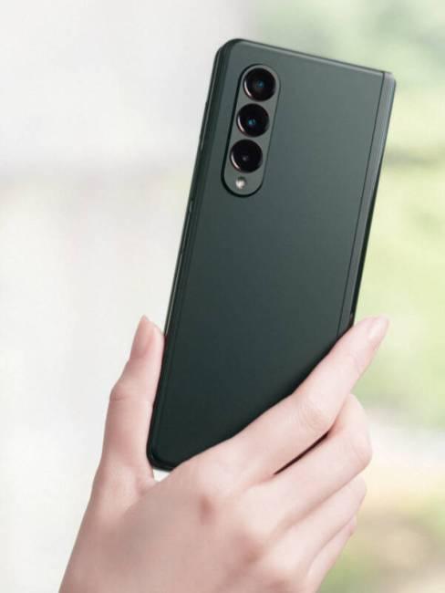 Phantom Green Samsung Galaxy Z Fold3 rear camera array