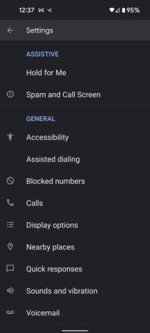 Google Phone app setting on the Google Pixel 5a.