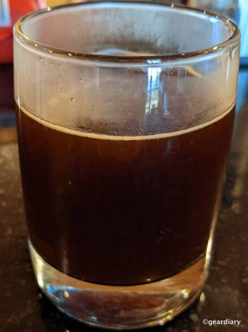 Fire Department Coffee Original Medium Roast in clear glass.