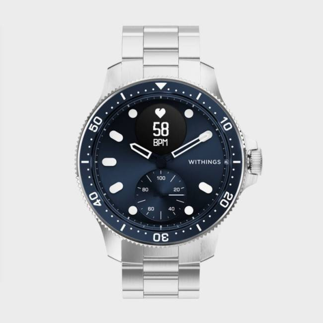 The Withings ScanWatch Horizon in blue.