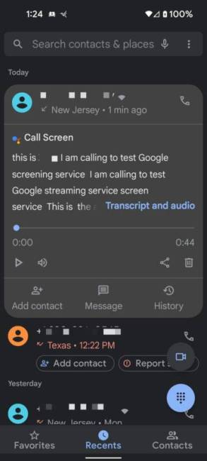 Recent calls in the Google Phone app on a Pixel 5a showing screened calls.