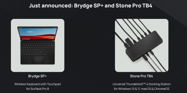 Brydge SP+ Wireless Keyboard with Touchpad for Surface Pro 8 and the Brydge Stone Pro TB4 Universal Docking Station