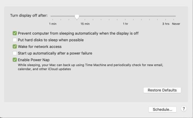 iMac power settings
