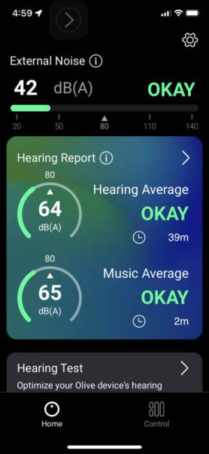 Hearing test in the Olive Pro Audio Enhancing Earbuds app.