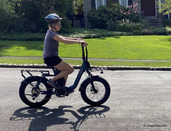 A woman rides the Espin Nesta.