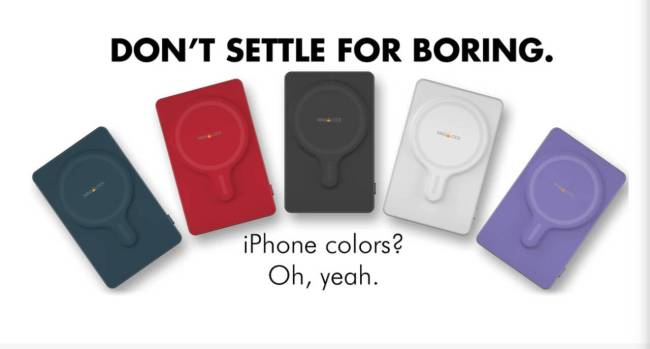 Color options for the myCharge MAG-LOCK MagSafe Powerbank.