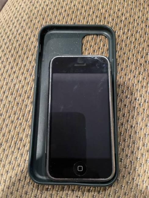 Original iPhone in iPhone 12 case