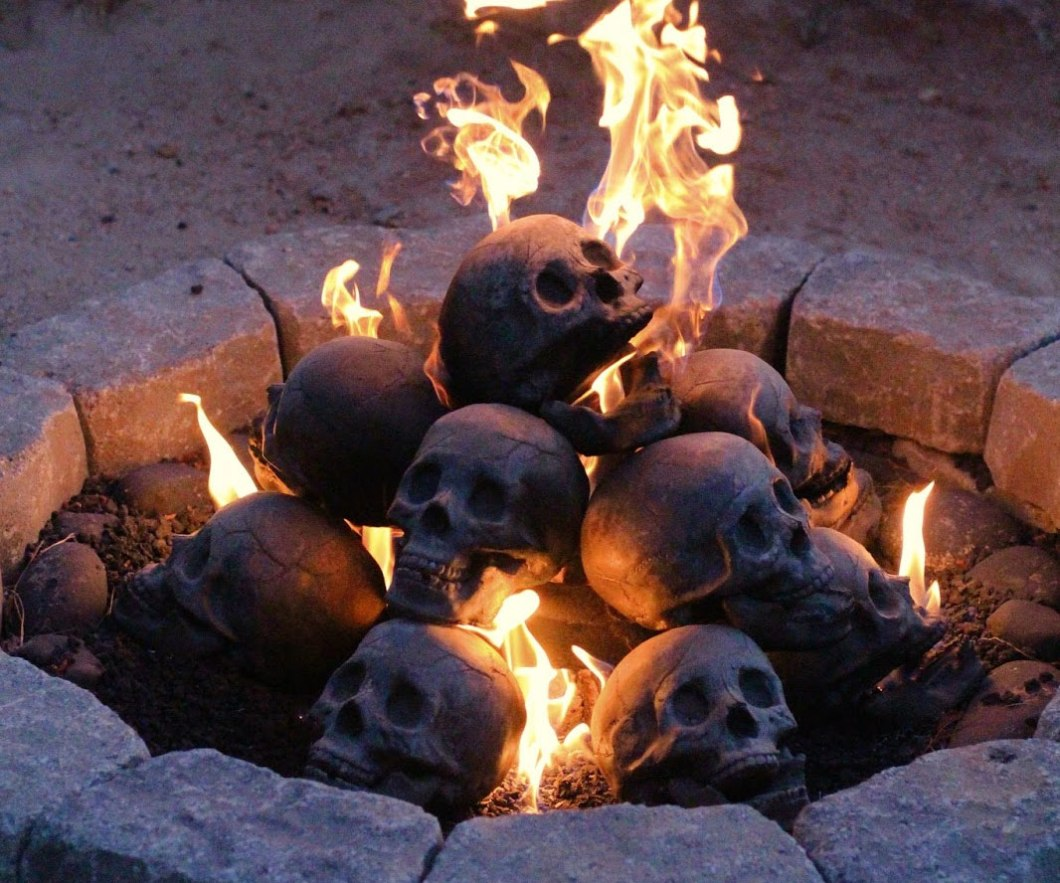Skull Gas Fireplace Logs–These are Pretty Out There