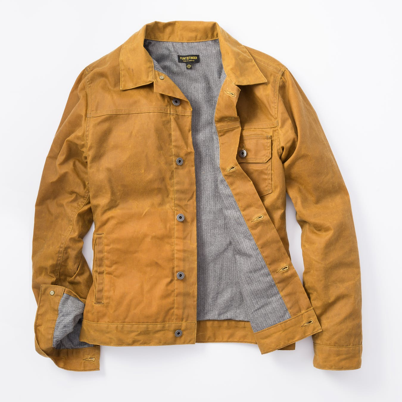 flint and tinder waxed trucker jacket