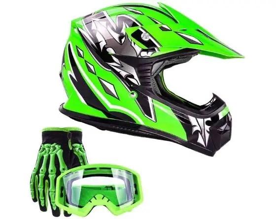 dirt bike helmet goggles and gloves