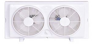 "COSTWAY Twin Window Fan 7"" 2-Speed Setting Reversible Airflow Dual Blade Fan"