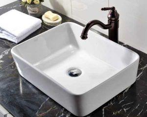 VCCUCINE Rectangle Above Counter Porcelain Ceramic Bathroom Vessel Vanity Sink