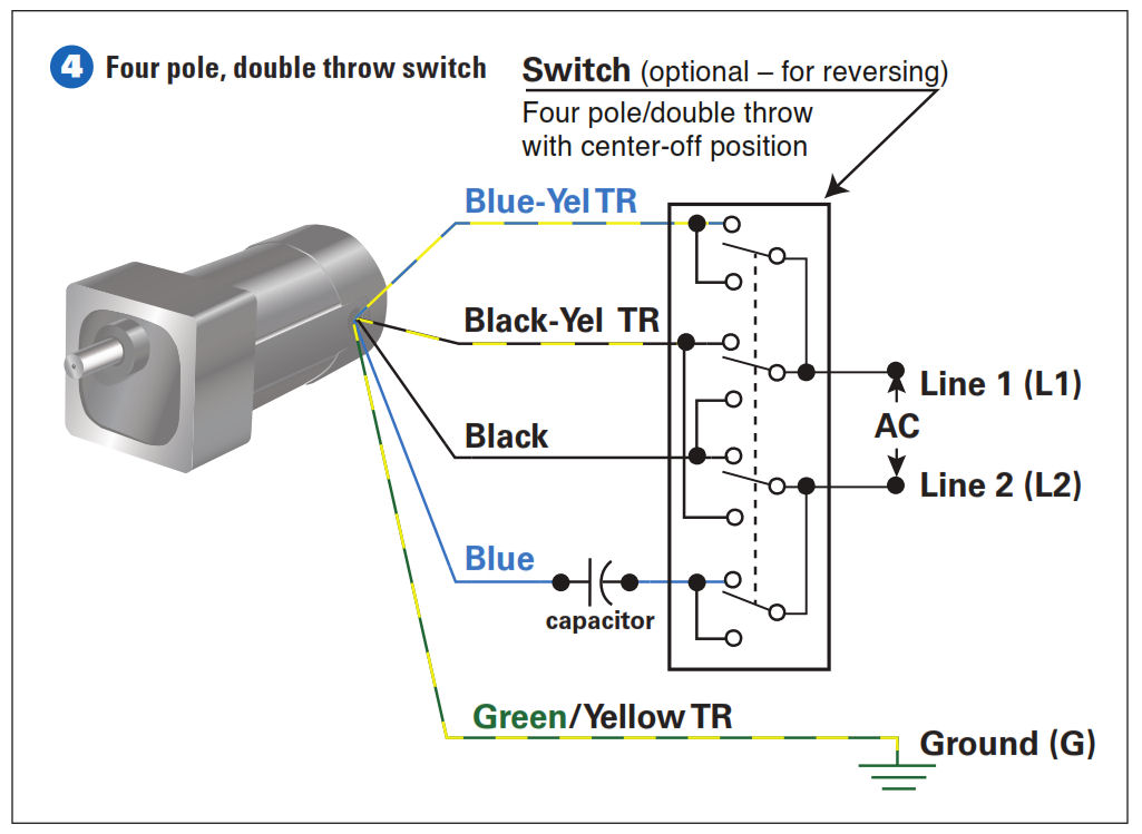 double switch wiring diagram light for subwoofers how to connect a reversing 3 or 4 wire psc gearmotor step the four pole throw