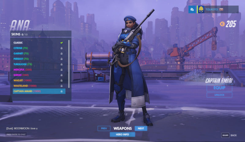 Overwatch Heres A List Of Skins And Their Price For Ana Amari