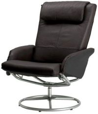 MAN CAVE - MAN CHAIR - Black Leather Swivel Recliner ...