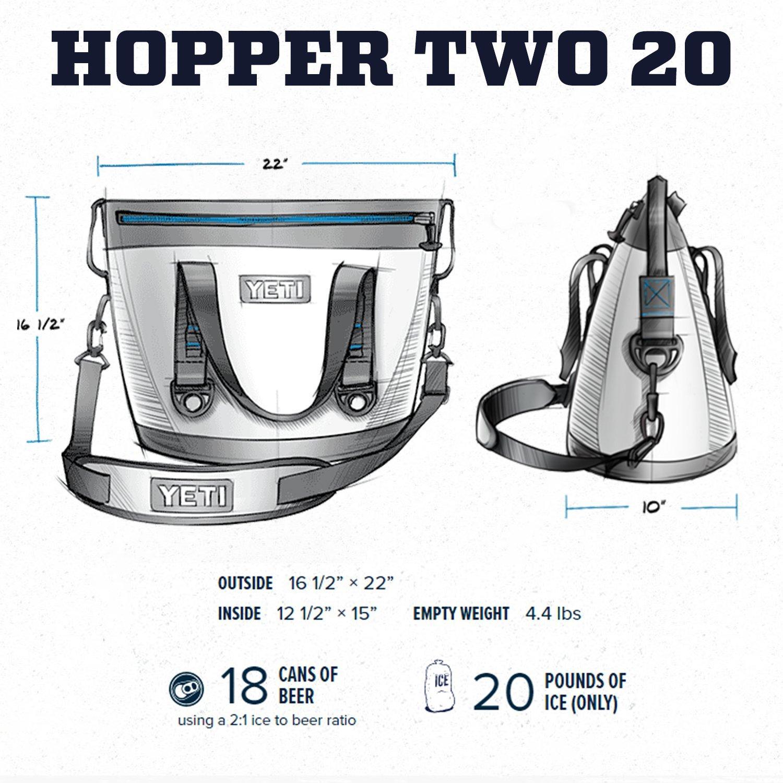 YETI hopper two dimensions