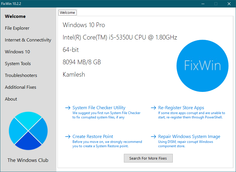 FixWin: Let's you Repair Several Problems in Windows 10 with a Click