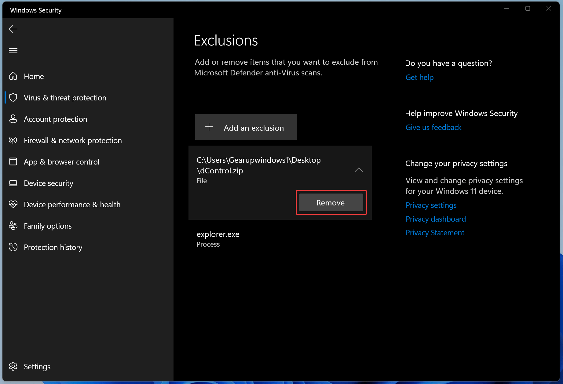 How to Add or Remove Exclusions for Windows Defender in Windows 11?