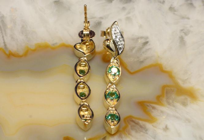 Smaragd Ohrringe Gold 375  Second Hand Schmuck