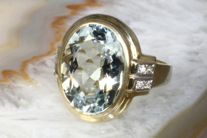 Aquamarin Ring Brillanten Gelbgold 585  Second Hand Schmuck