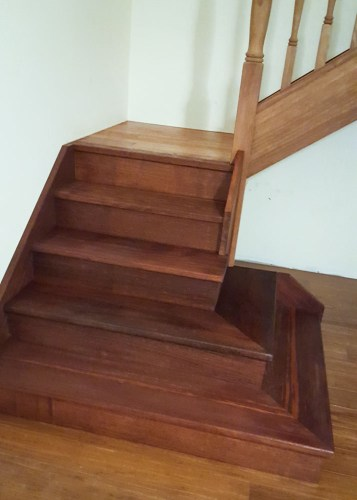 The sanded and sealed stairs